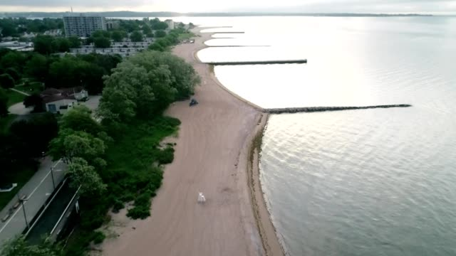 Aerial view of an Overcast day on Long Island Sound in West Haven Connecticut