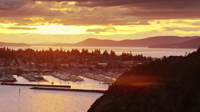 aerial view of anacortes at twilight from over cap sante - anacortes stock videos & royalty-free footage