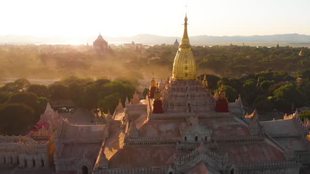 aerial view of ananda temple, bagan, myanmar - temple building stock videos & royalty-free footage