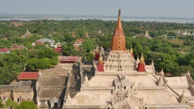 aerial view of ananda temple - pagan stock-videos und b-roll-filmmaterial