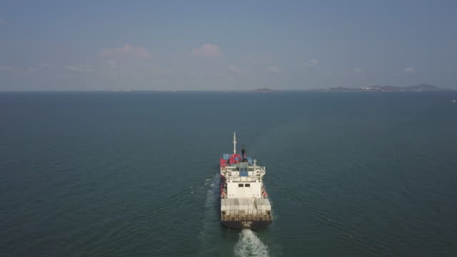 aerial view of anchored oil tanker ship - cargo ship stock videos & royalty-free footage