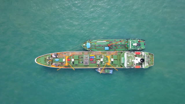 aerial view of anchored oil tanker ship - tanker stock videos & royalty-free footage
