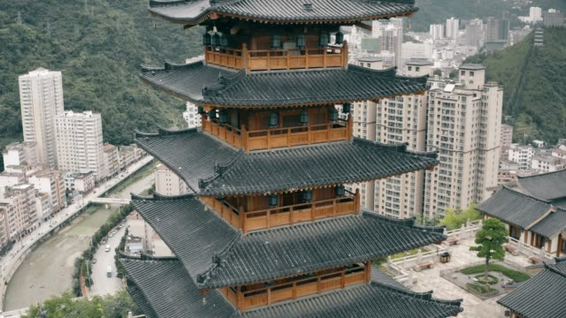 aerial view of ancient chinese architecture,zhenan,shaanxi,china. - mystery stock videos & royalty-free footage