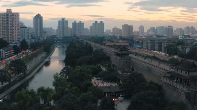 aerial view of ancient city wal at sunset,xi'an,china. - moat stock videos & royalty-free footage