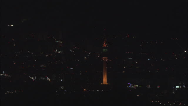 aerial view of and daegu tower in daegu city during night - daegu stock videos and b-roll footage