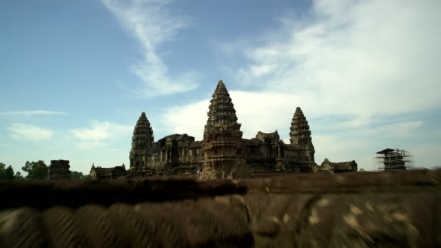 aerial view of angkor wat temple - cambodia stock videos and b-roll footage