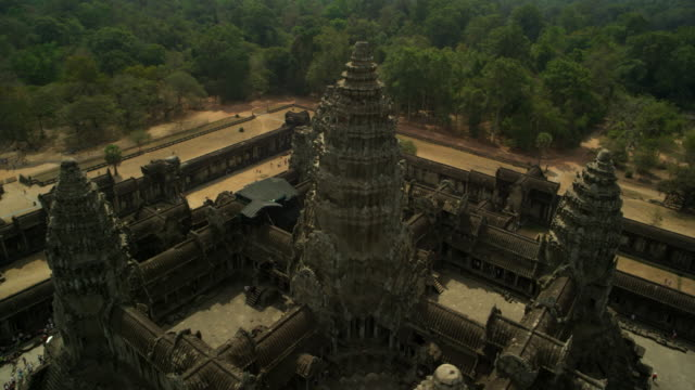 aerial view of angkor wat temple - angkor wat stock videos and b-roll footage