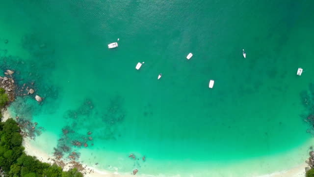 Aerial view of Anse Lazio with boats- Praslin iceland