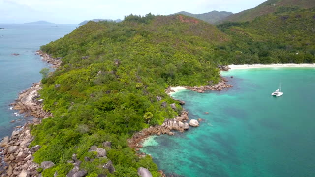Aerial view of Anse Lazio with people - Praslin iceland