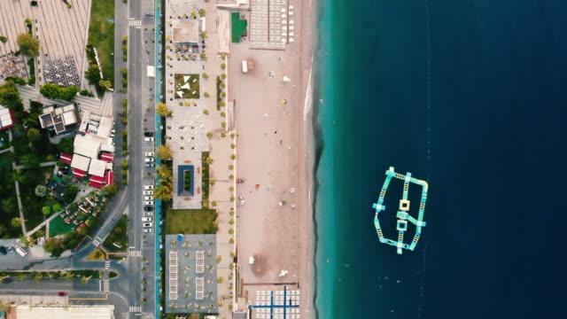 aerial view of antalya konyaalti beach - byakkaya stock videos and b-roll footage