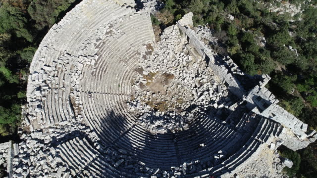 aerial view of antalya termessos ancient theater - imperfection stock videos and b-roll footage