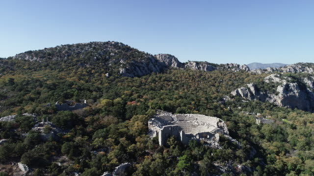 aerial view of antalya termessos ancient theater - imperfection stock videos & royalty-free footage