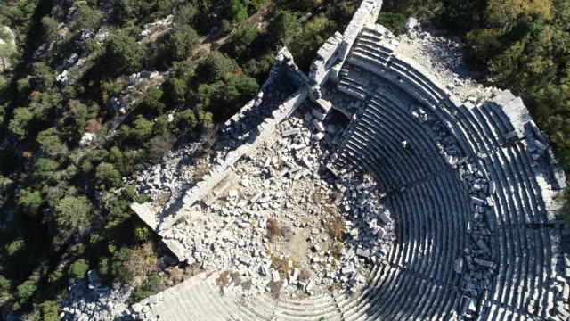 aerial view of antalya termessos ancient theater - ancient greece stock videos & royalty-free footage