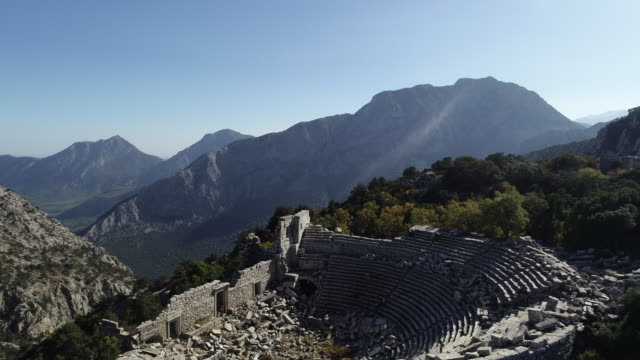 aerial view of antalya termessos ancient theater - amphitheatre stock videos & royalty-free footage
