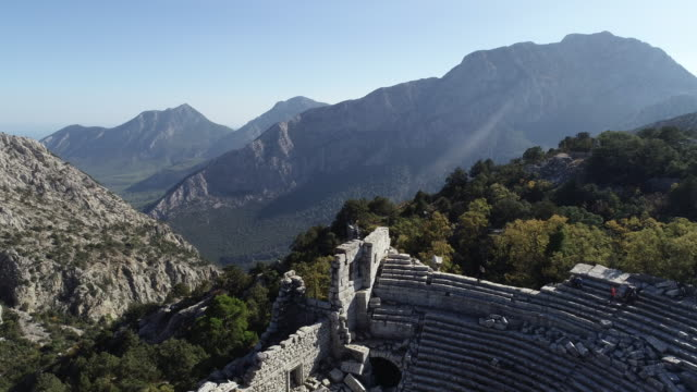 Aerial view of Antalya Termessos Ancient Theater