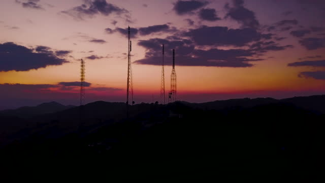 aerial view of antenna communication - mast stock videos & royalty-free footage