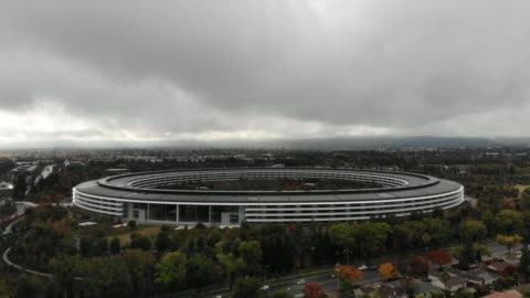 aerial view of apple park, the headquarters for apple, located in silicon valley - headquarters stock videos & royalty-free footage