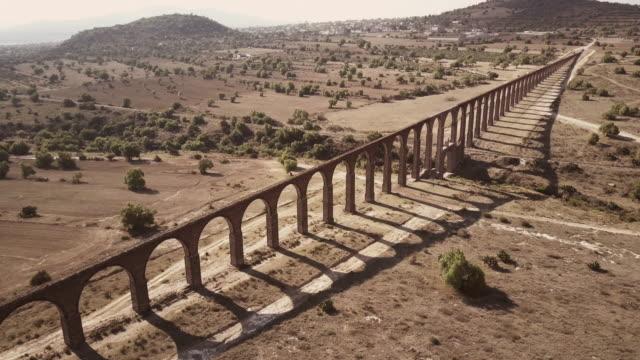 Aerial view of Aqueduct of Padre Tembleque in Mexico