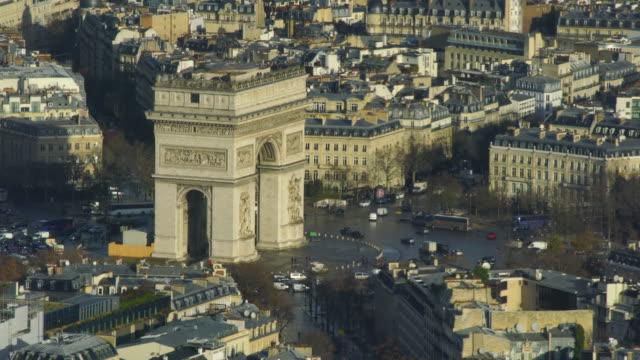 aerial view of arc de triumph in paris - arc de triomphe stock videos and b-roll footage