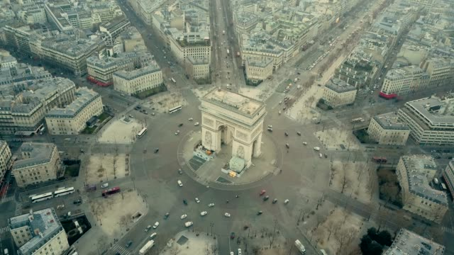 aerial view of arc de triumph in paris - arch architectural feature stock videos and b-roll footage