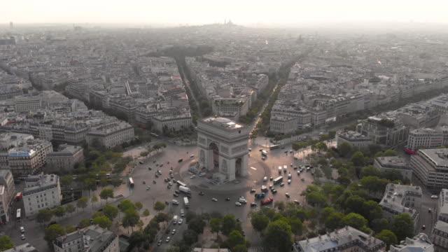 aerial view of arc de triumphe - place charles de gaulle paris stock videos & royalty-free footage
