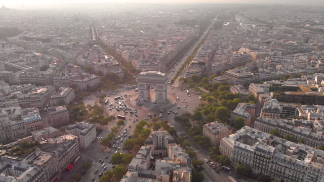 aerial view of arc de triumphe - paris france stock videos & royalty-free footage