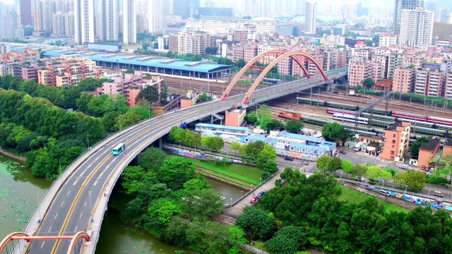aerial view of arch bridge in shenzhen - arch bridge stock videos and b-roll footage