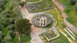 Aerial view of archaeological site of ancient Delphi, site of temple of Apollo and the Oracle, Greece