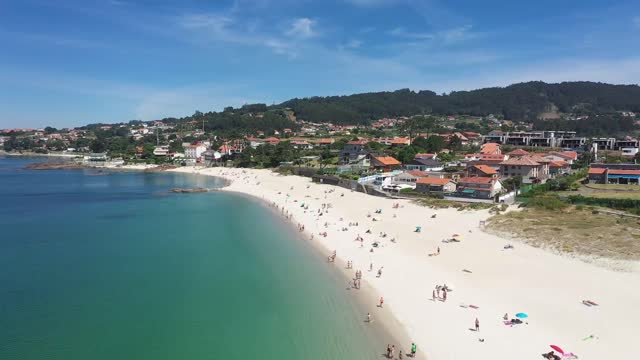 aerial view of areas's beach during covid-19. sanxenxo is a municipality in galicia, spain in the province of pontevedra. it is situated in the... - summer stock videos & royalty-free footage