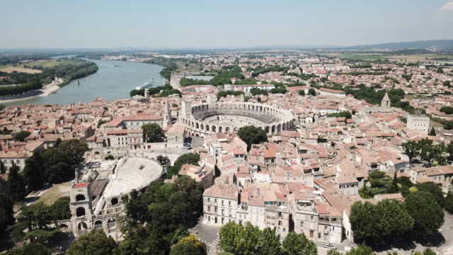 aerial view of arles and arles amphitheatre, an ancient city in provence, france - amphitheatre stock videos & royalty-free footage