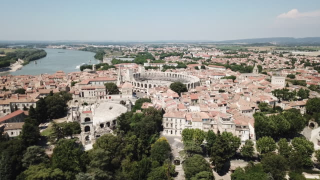 Aerial view of Arles and Arles Amphitheatre, an ancient city in Provence, France