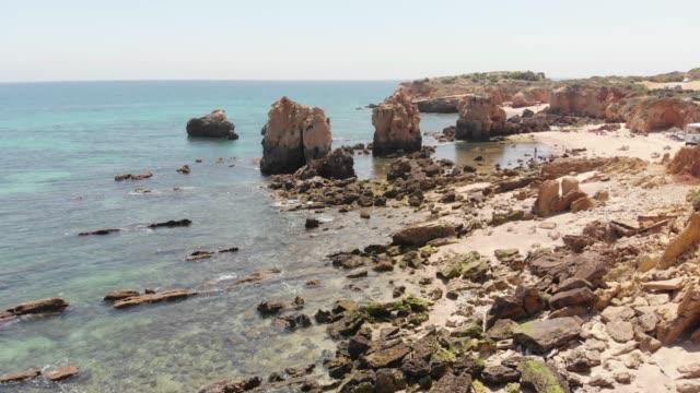 aerial view of arrifes´s beach, algarve - algarve stock videos & royalty-free footage
