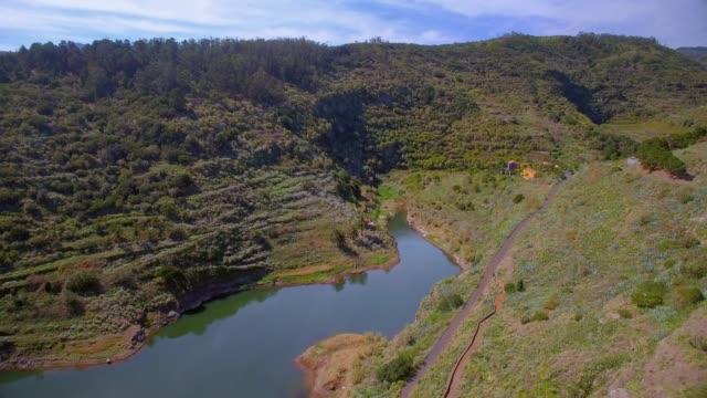 Aerial View of artificial lake near by Mirador de Abrante and village Agulo on Canary Islands La Gomera in the province of Santa Cruz de Tenerife - Spain