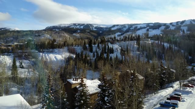aerial view of aspen colorado in the winter - colorado stock videos & royalty-free footage