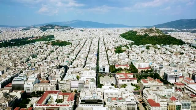 aerial view of athens - greece - lycabettus hill stock videos & royalty-free footage