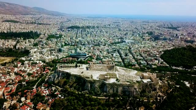 aerial view of athens - greece - parthenon athens stock videos & royalty-free footage