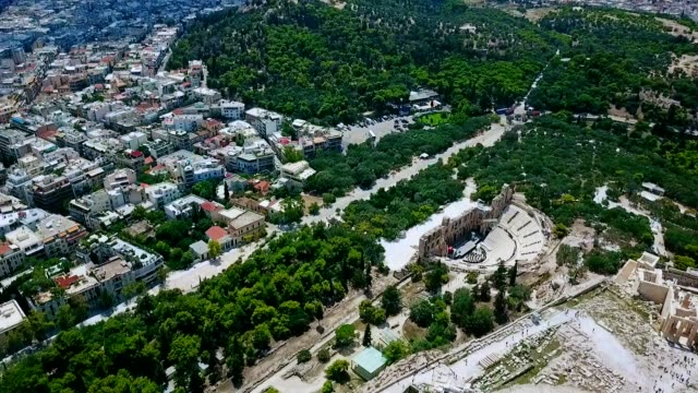 aerial view of athens - greece - acropolis athens stock videos & royalty-free footage