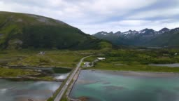Aerial view of atlantic way on west coast of Norway stock video... Save
