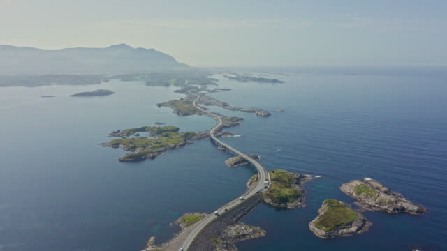 aerial view of atlantic way on west coast of norway - atlantic ocean stock videos & royalty-free footage
