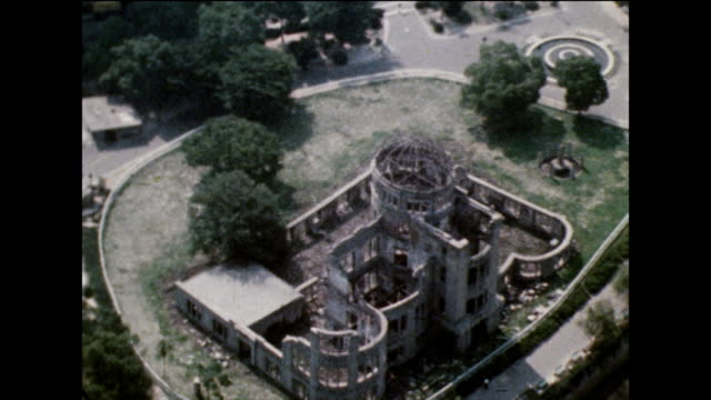 aerial view of atomic bomb dome ruins in hiroshima; 1975 - nuclear bomb stock videos & royalty-free footage
