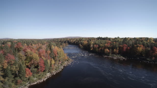 Aerial View of Autumn Landscape Nature, Quebec, Canada
