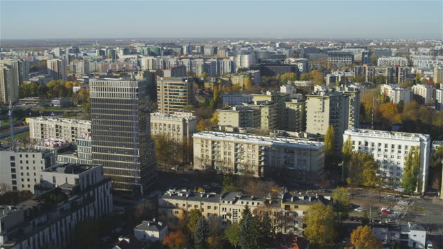 aerial view of autumnal warsaw center. old residetial buildings and skyscrapers seen from above - warsaw stock videos & royalty-free footage