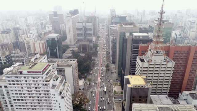 aerial view of avenida paulista, sao paulo city, brazil - são paulo stock videos & royalty-free footage
