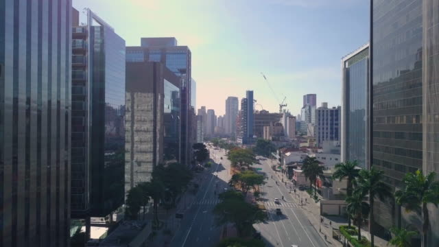 aerial view of avenue and streets in sao paulo with drone - general view stock videos & royalty-free footage