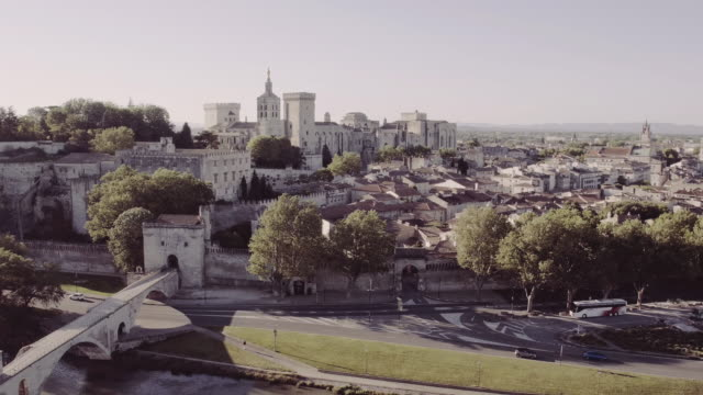 aerial view of 'avignon, france - pope stock videos and b-roll footage