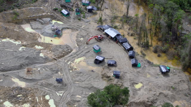 aerial view of backhoe in illegal gold mine, colombia - forbidden stock videos & royalty-free footage