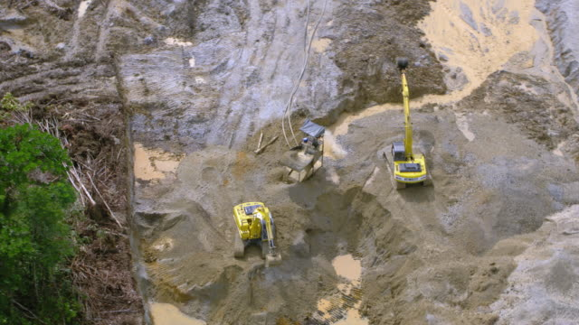 aerial view of backhoes at illegal gold mine, colombia - medellin colombia stock videos & royalty-free footage