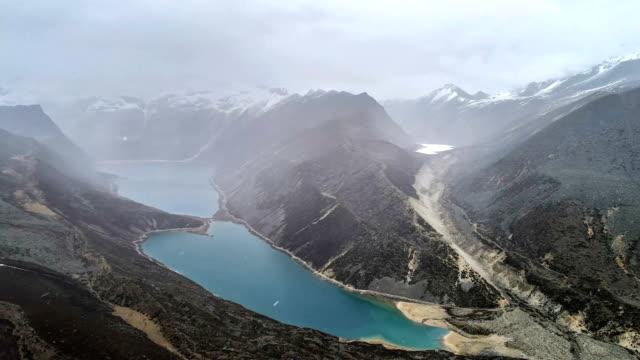 aerial view of baimalin lake - tibetan plateau stock videos & royalty-free footage