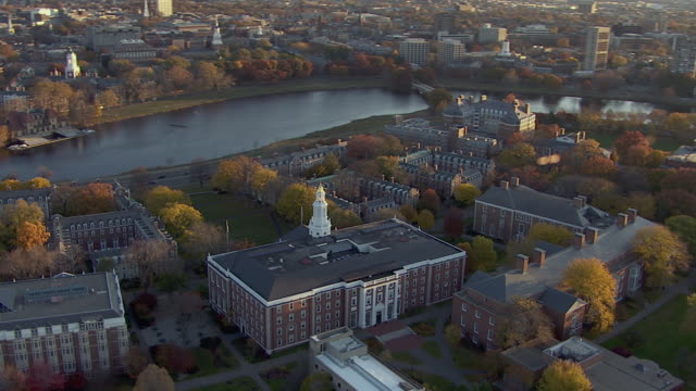 aerial view of baker library near charles river in boston, massachusetts, united states of america - harvard university stock videos & royalty-free footage