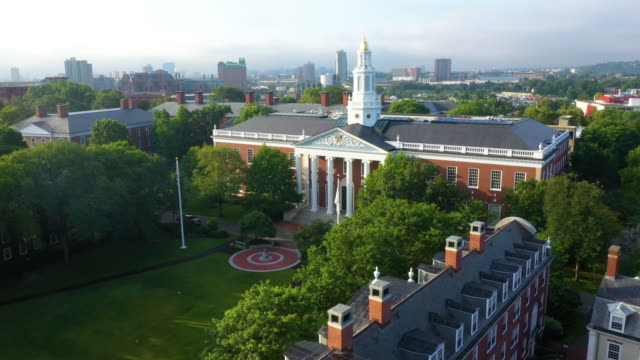 aerial view of baker library/bloomberg center - ivy league university stock videos & royalty-free footage